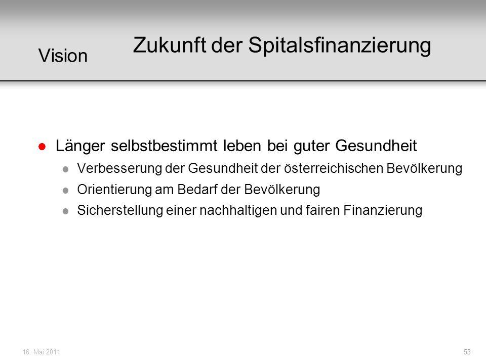16. Mai 201153 Vision l Länger selbstbestimmt leben bei guter Gesundheit l Verbesserung der Gesundheit der österreichischen Bevölkerung l Orientierung