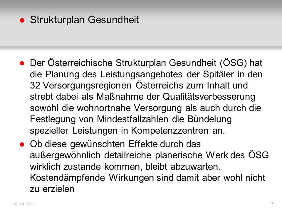 l Strukturplan Gesundheit l Der Österreichische Strukturplan Gesundheit (ÖSG) hat die Planung des Leistungsangebotes der Spitäler in den 32 Versorgung