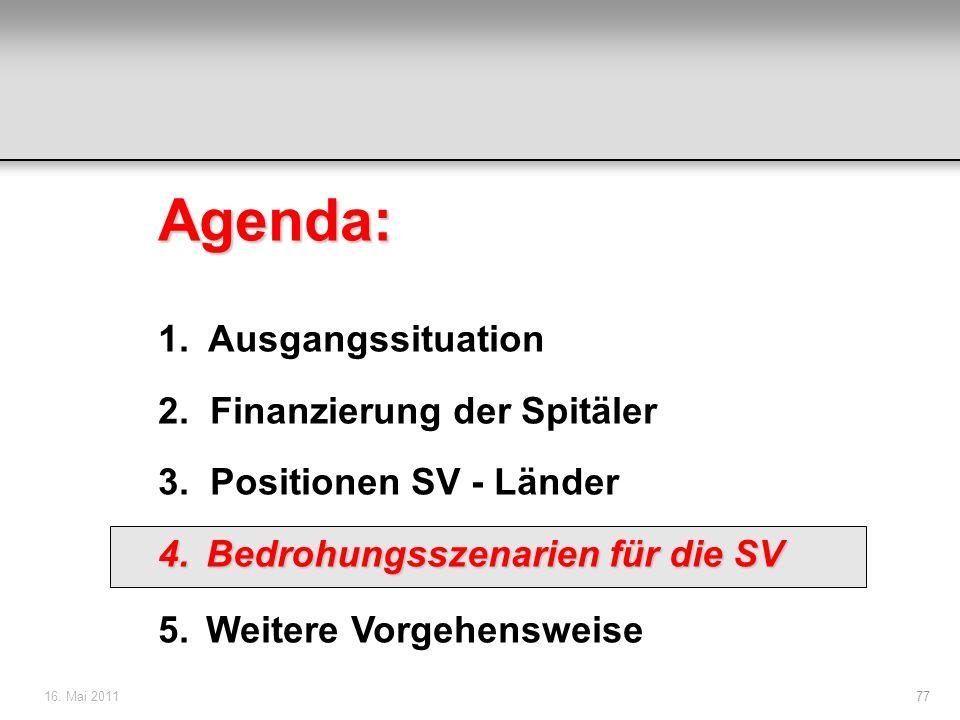 16. Mai 201177 Agenda: 1. Ausgangssituation 2. Finanzierung der Spitäler 3. Positionen SV - Länder 4.Bedrohungsszenarien für die SV 5.Weitere Vorgehen