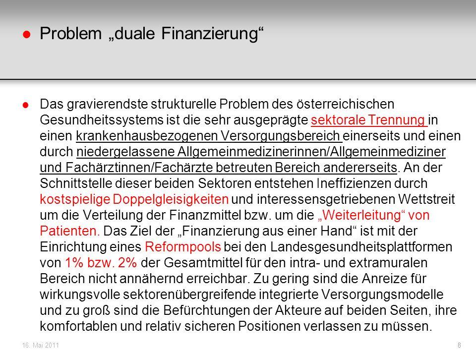 l Problem duale Finanzierung l Das gravierendste strukturelle Problem des österreichischen Gesundheitssystems ist die sehr ausgeprägte sektorale Trenn