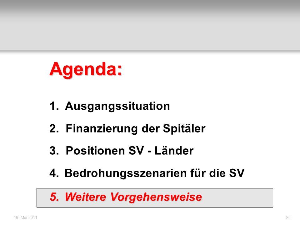 16. Mai 201180 Agenda: 1. Ausgangssituation 2. Finanzierung der Spitäler 3. Positionen SV - Länder 4.Bedrohungsszenarien für die SV 5.Weitere Vorgehen