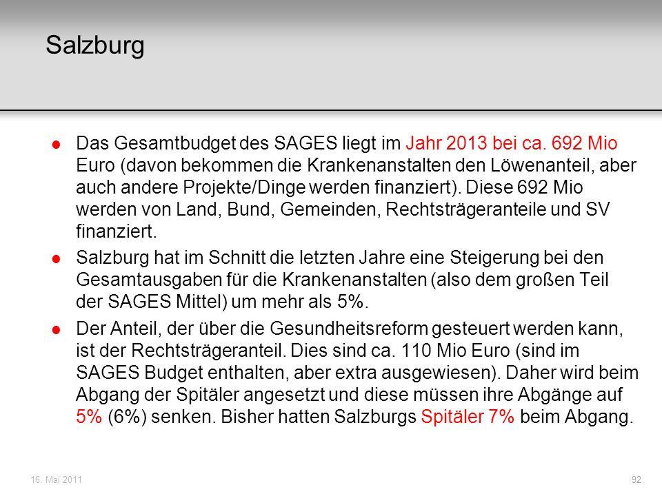 Salzburg l Das Gesamtbudget des SAGES liegt im Jahr 2013 bei ca. 692 Mio Euro (davon bekommen die Krankenanstalten den Löwenanteil, aber auch andere P