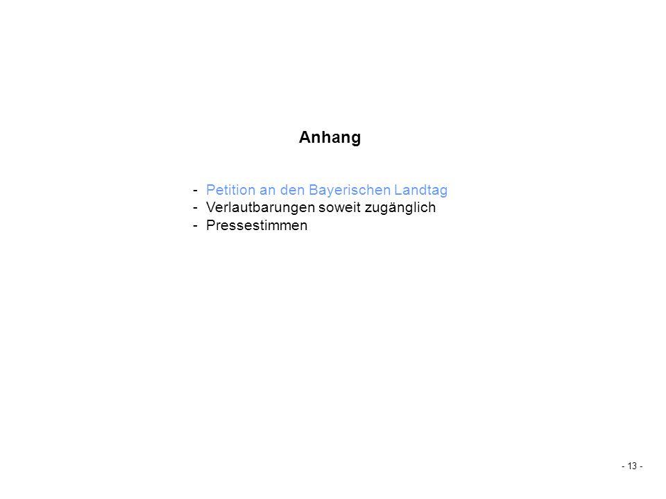 - Petition an den Bayerischen Landtag - Verlautbarungen soweit zugänglich - Pressestimmen Anhang - 13 -