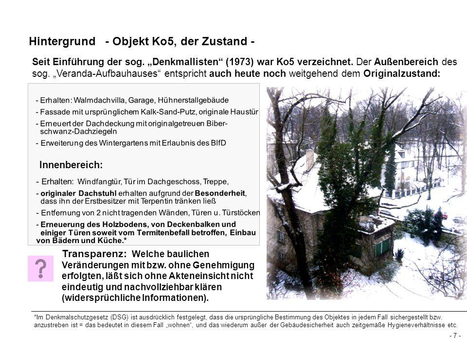 Hintergrund - Objekt Ko5, der Zustand - Seit Einführung der sog. Denkmallisten (1973) war Ko5 verzeichnet. Der Außenbereich des sog. Veranda-Aufbauhau