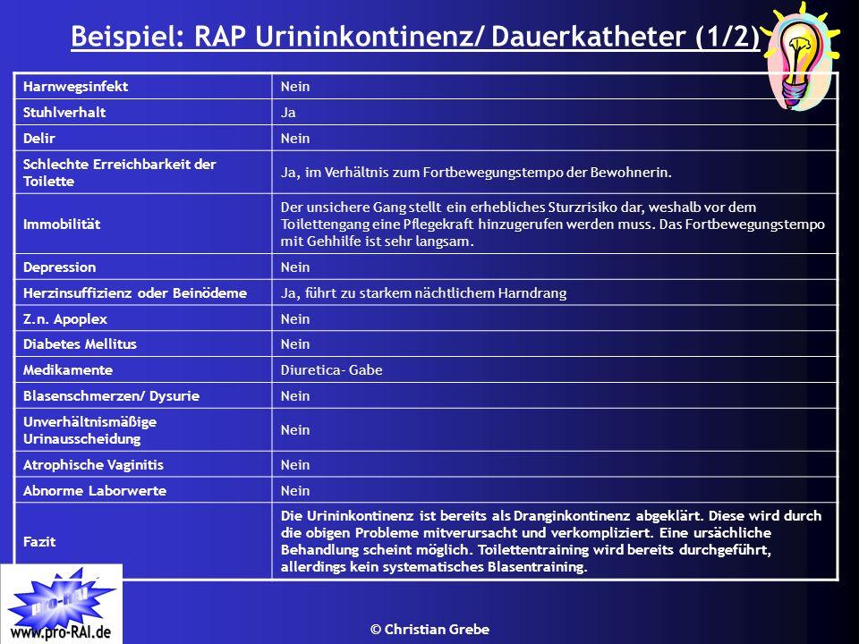 © Christian Grebe Beispiel: RAP Urininkontinenz/ Dauerkatheter (1/2) HarnwegsinfektNein StuhlverhaltJa DelirNein Schlechte Erreichbarkeit der Toilette
