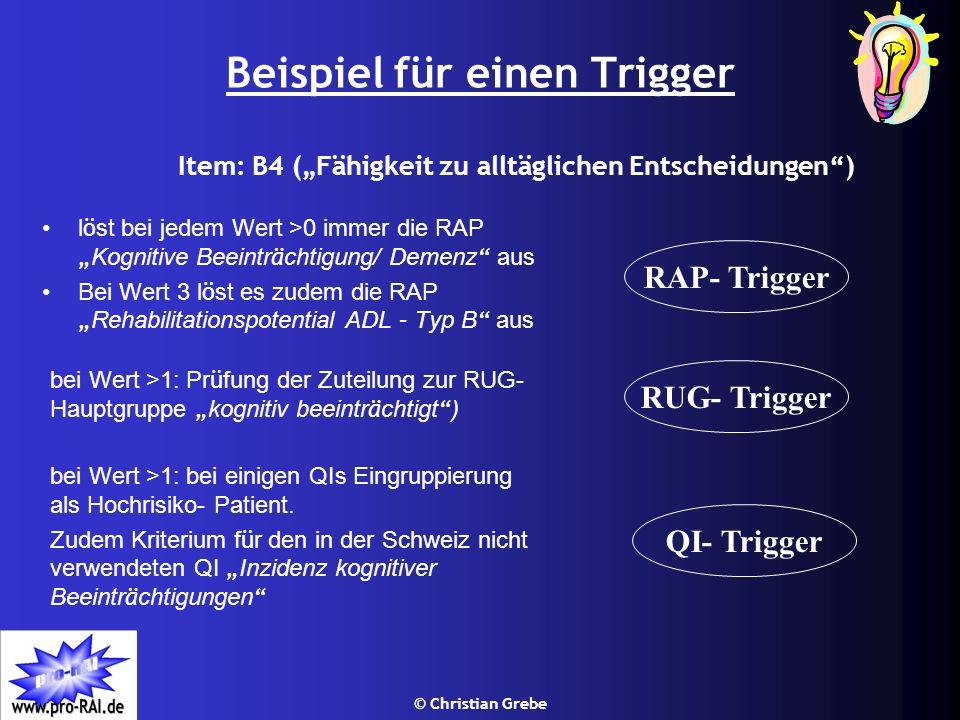 © Christian Grebe Beispiel für einen Trigger l ö st bei jedem Wert >0 immer die RAP Kognitive Beeintr ä chtigung/ Demenz aus Bei Wert 3 l ö st es zude