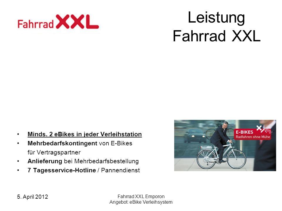 5.April 2012 Fahrrad XXL Emporon Angebot: eBike Verleihsystem Leistung Fahrrad XXL Minds.