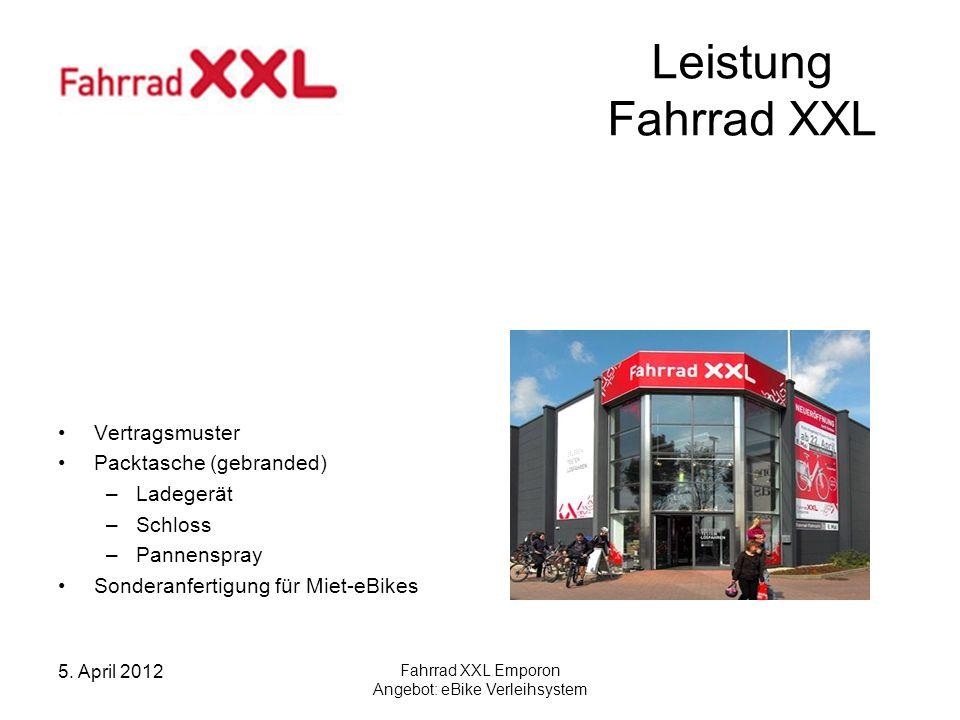 5. April 2012 Fahrrad XXL Emporon Angebot: eBike Verleihsystem Leistung Fahrrad XXL Vertragsmuster Packtasche (gebranded) –Ladegerät –Schloss –Pannens