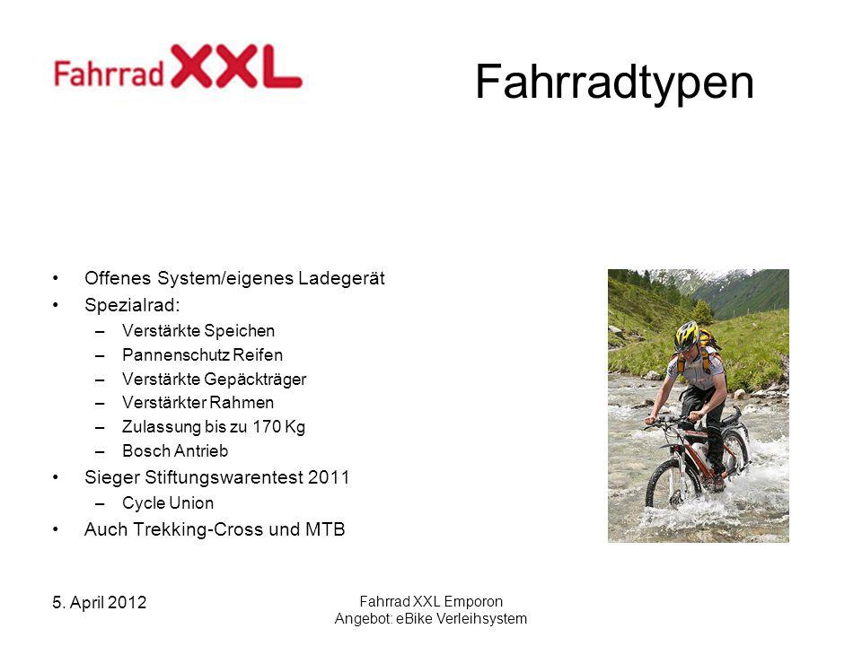 5. April 2012 Fahrrad XXL Emporon Angebot: eBike Verleihsystem Fahrradtypen Offenes System/eigenes Ladegerät Spezialrad: –Verstärkte Speichen –Pannens