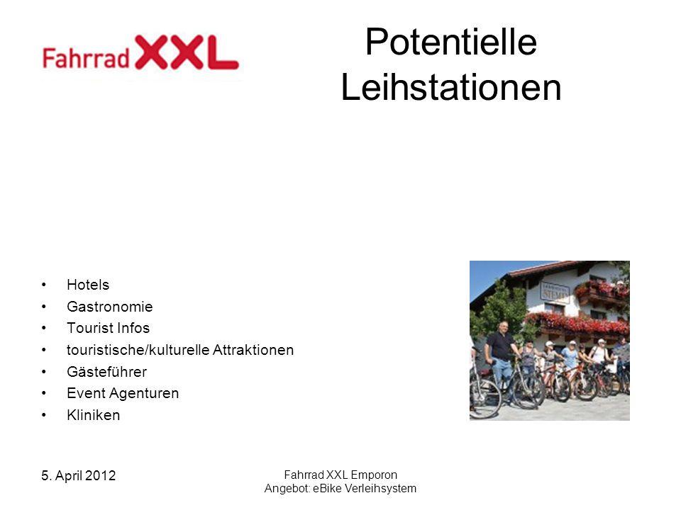 5. April 2012 Fahrrad XXL Emporon Angebot: eBike Verleihsystem Potentielle Leihstationen Hotels Gastronomie Tourist Infos touristische/kulturelle Attr
