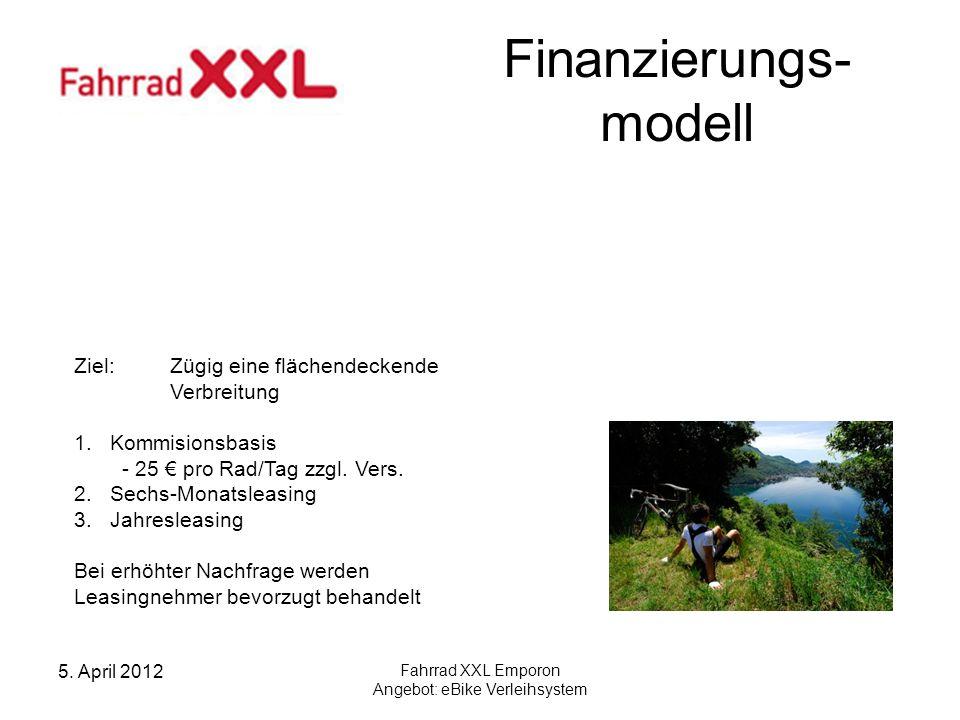 5. April 2012 Fahrrad XXL Emporon Angebot: eBike Verleihsystem Finanzierungs- modell Ziel: Zügig eine flächendeckende Verbreitung 1.Kommisionsbasis -