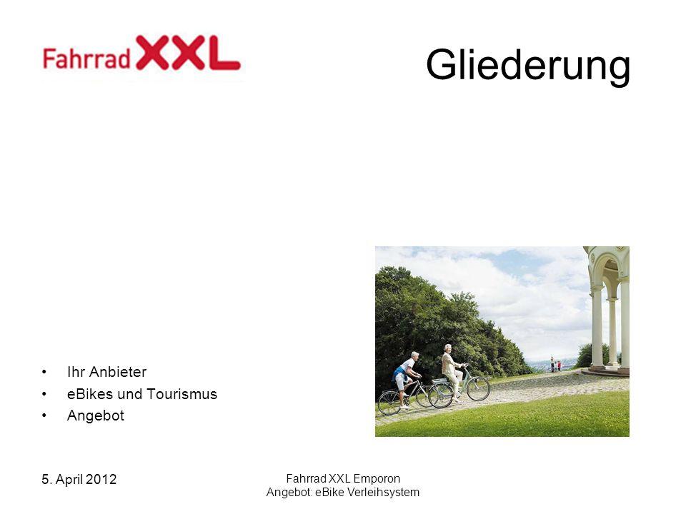 5. April 2012 Fahrrad XXL Emporon Angebot: eBike Verleihsystem Gliederung Ihr Anbieter eBikes und Tourismus Angebot