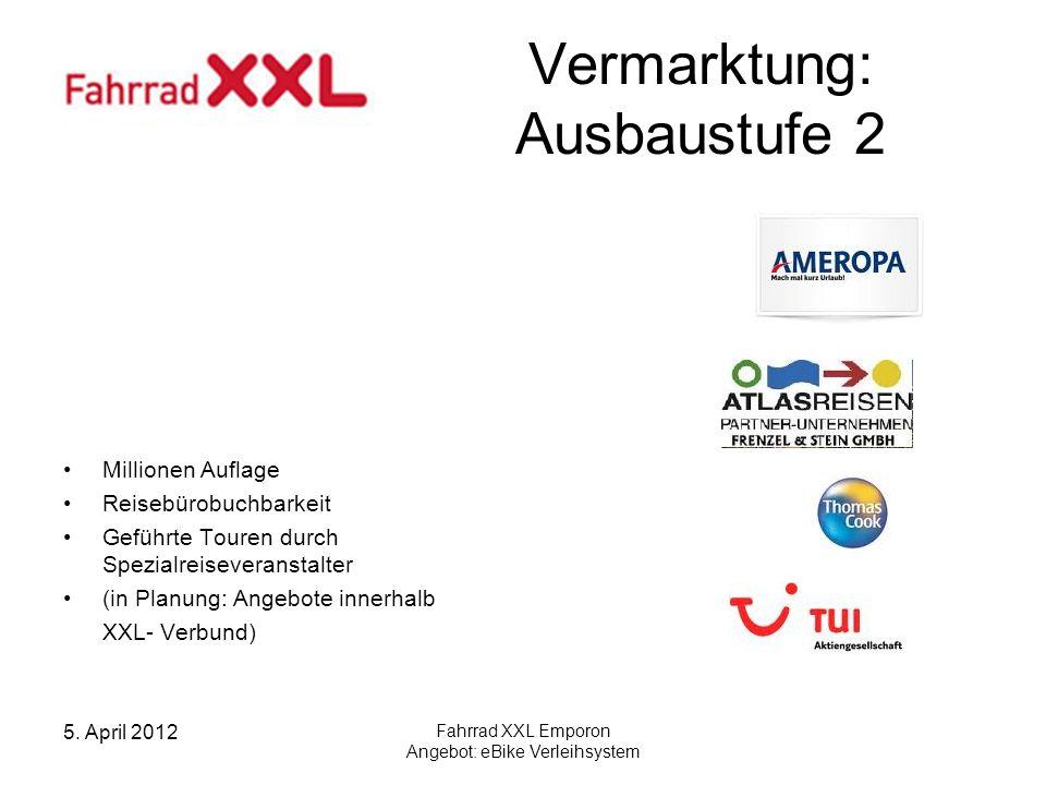 5. April 2012 Fahrrad XXL Emporon Angebot: eBike Verleihsystem Vermarktung: Ausbaustufe 2 Millionen Auflage Reisebürobuchbarkeit Geführte Touren durch