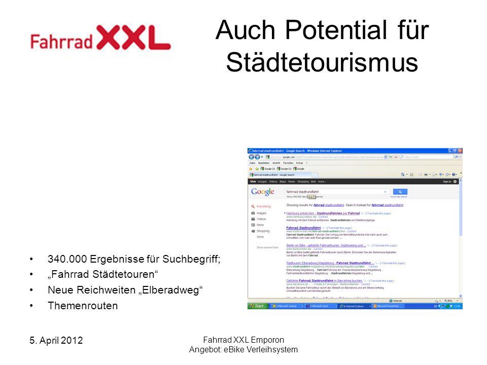 5. April 2012 Fahrrad XXL Emporon Angebot: eBike Verleihsystem Auch Potential für Städtetourismus 340.000 Ergebnisse für Suchbegriff; Fahrrad Städteto