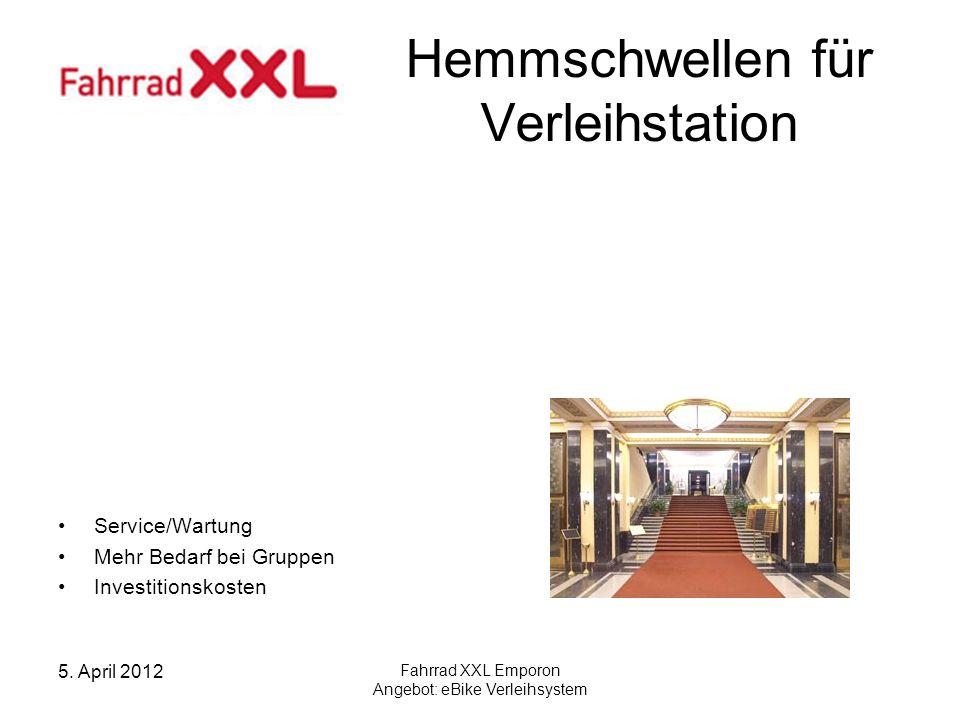 5. April 2012 Fahrrad XXL Emporon Angebot: eBike Verleihsystem Das Angebot