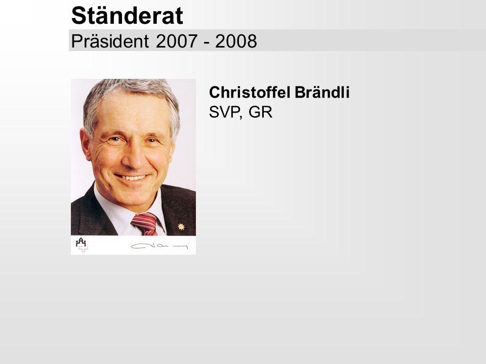 Ständerat Präsident 2007 - 2008 Christoffel Brändli SVP, GR