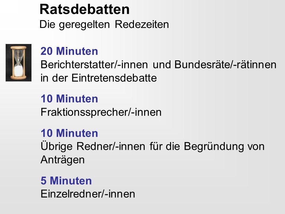 Ratsdebatten Die geregelten Redezeiten 20 Minuten Berichterstatter/-innen und Bundesräte/-rätinnen in der Eintretensdebatte 10 Minuten Fraktionssprech