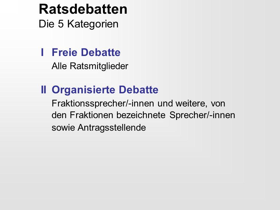 Ratsdebatten Die 5 Kategorien I Freie Debatte Alle Ratsmitglieder IIOrganisierte Debatte Fraktionssprecher/-innen und weitere, von den Fraktionen beze
