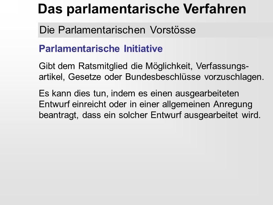 Das parlamentarische Verfahren Parlamentarische Initiative Gibt dem Ratsmitglied die Möglichkeit, Verfassungs- artikel, Gesetze oder Bundesbeschlüsse