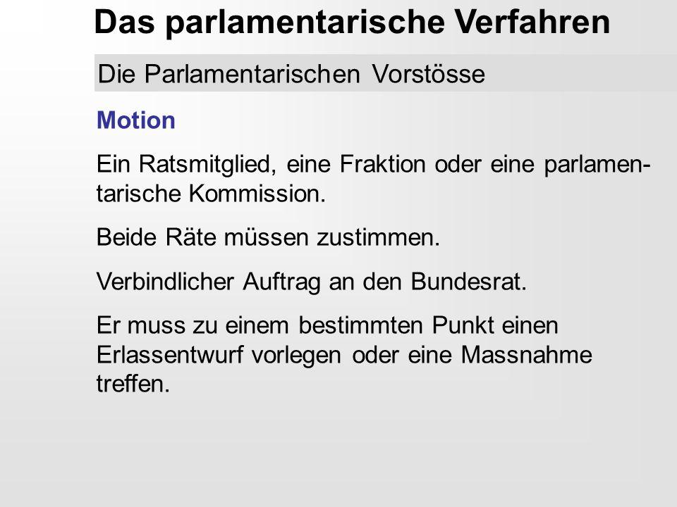 Das parlamentarische Verfahren Die Parlamentarischen Vorstösse Motion Ein Ratsmitglied, eine Fraktion oder eine parlamen- tarische Kommission. Beide R
