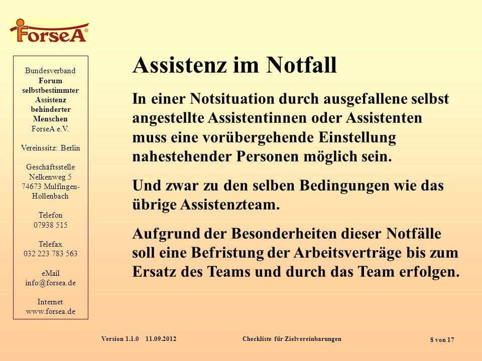 Bundesverband Forum selbstbestimmter Assistenz behinderter Menschen ForseA e.V.