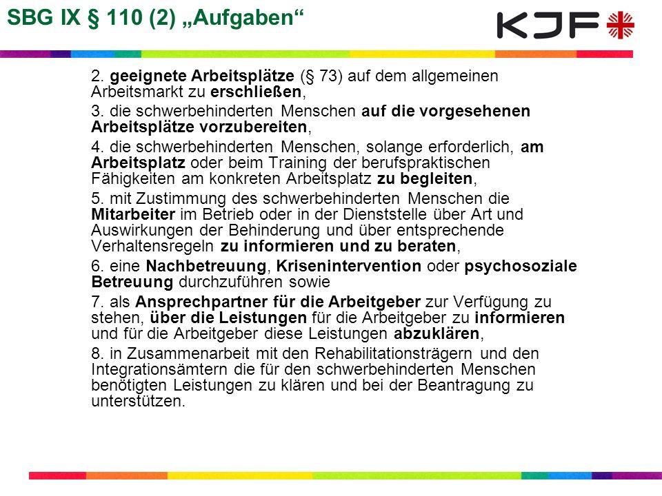 SBG IX § 110 (2) Aufgaben 2. geeignete Arbeitsplätze (§ 73) auf dem allgemeinen Arbeitsmarkt zu erschließen, 3. die schwerbehinderten Menschen auf die