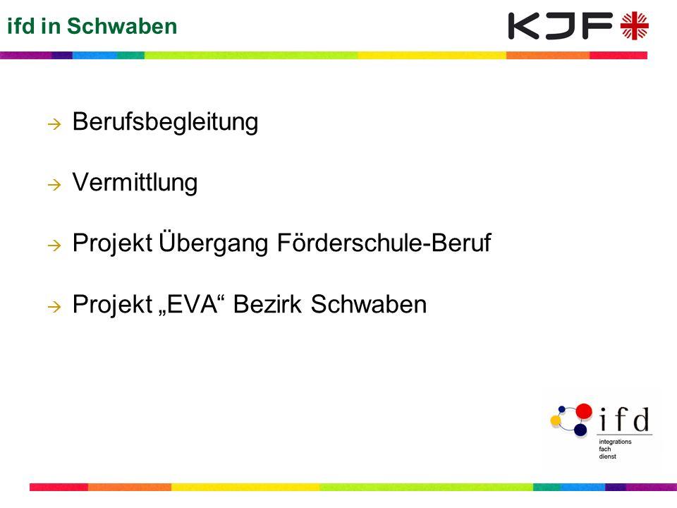ifd in Schwaben Berufsbegleitung Vermittlung Projekt Übergang Förderschule-Beruf Projekt EVA Bezirk Schwaben