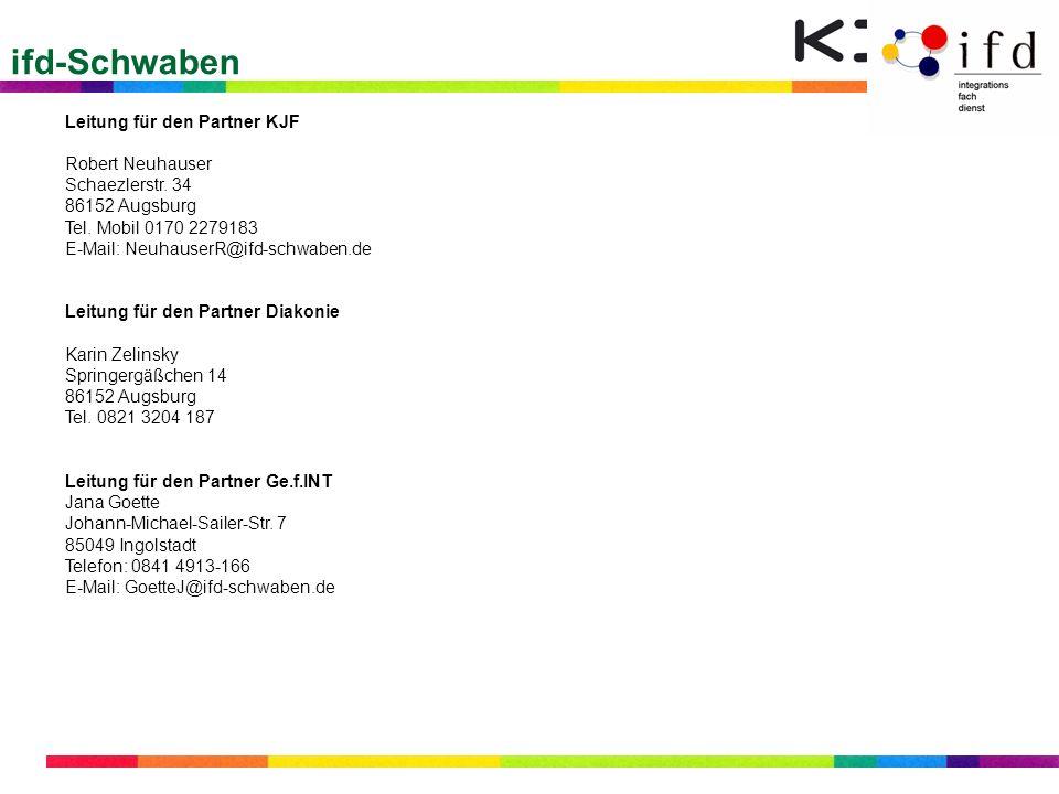 ifd-Schwaben Leitung für den Partner KJF Robert Neuhauser Schaezlerstr. 34 86152 Augsburg Tel. Mobil 0170 2279183 E-Mail: NeuhauserR@ifd-schwaben.de L