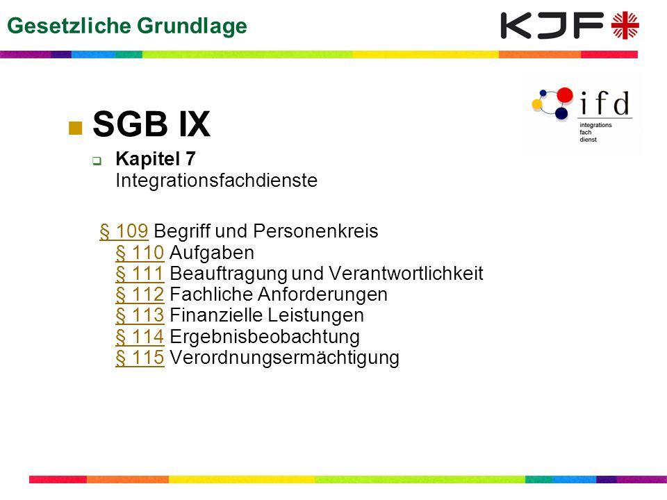 SBG IX §109 (1) Begriff und Personenkreis (1) Integrationsfachdienste sind Dienste Dritter, die bei der Durchführung der Maßnahmen zur Teilhabe schwerbehinderter Menschen am Arbeitsleben beteiligt werden.