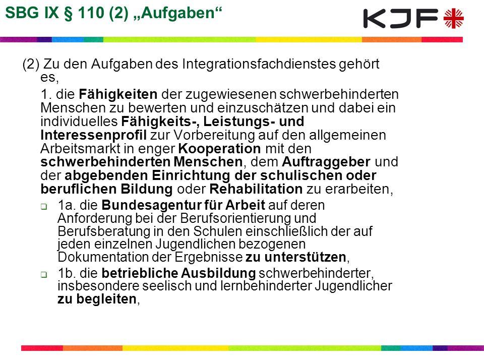SBG IX § 110 (2) Aufgaben (2) Zu den Aufgaben des Integrationsfachdienstes gehört es, 1. die Fähigkeiten der zugewiesenen schwerbehinderten Menschen z