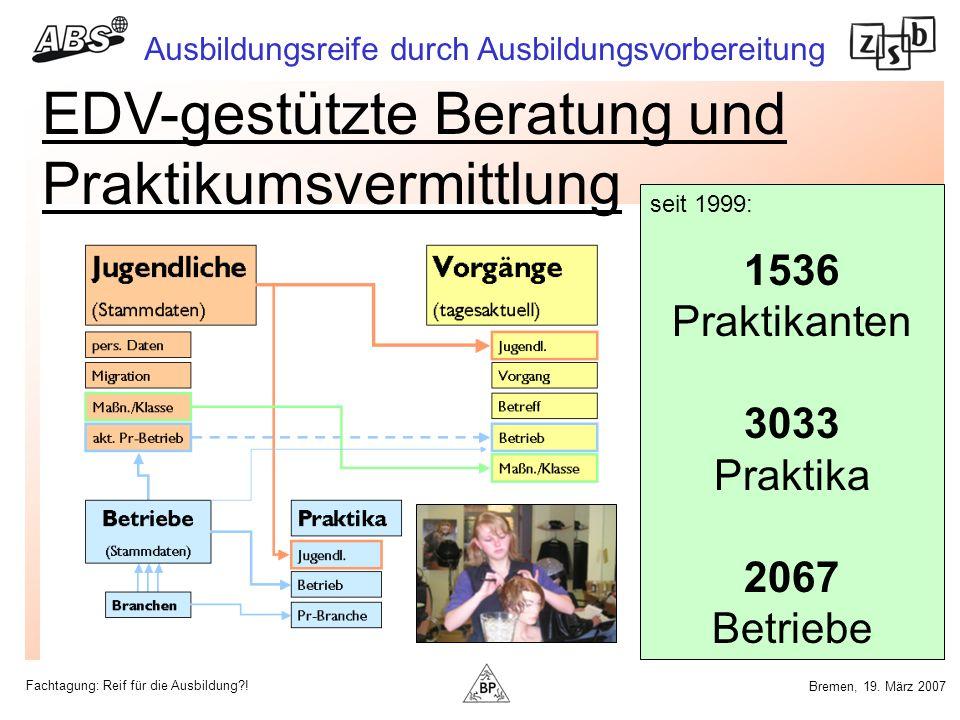 Fachtagung: Reif für die Ausbildung?! Ausbildungsreife durch Ausbildungsvorbereitung Bremen, 19. März 2007 EDV-gestützte Beratung und Praktikumsvermit