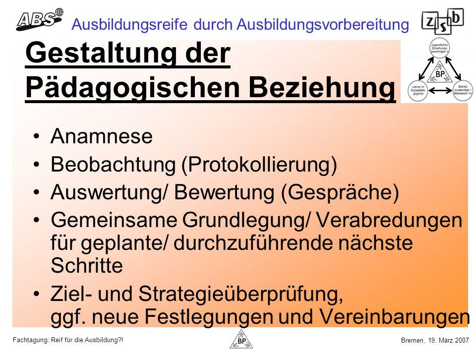 Fachtagung: Reif für die Ausbildung?! Ausbildungsreife durch Ausbildungsvorbereitung Bremen, 19. März 2007 Gestaltung der Pädagogischen Beziehung Anam