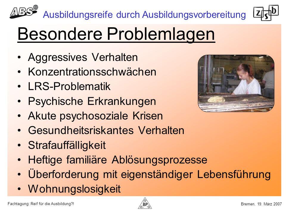 Fachtagung: Reif für die Ausbildung?! Ausbildungsreife durch Ausbildungsvorbereitung Bremen, 19. März 2007 Besondere Problemlagen Aggressives Verhalte