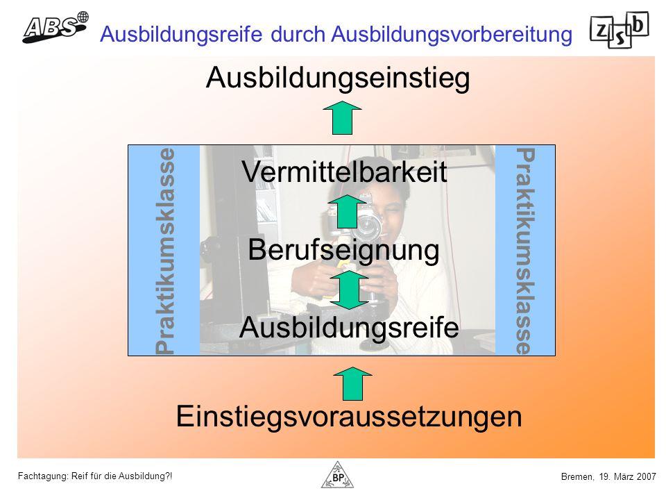 Fachtagung: Reif für die Ausbildung?! Ausbildungsreife durch Ausbildungsvorbereitung Bremen, 19. März 2007 Praktikumsklasse Einstiegsvoraussetzungen A