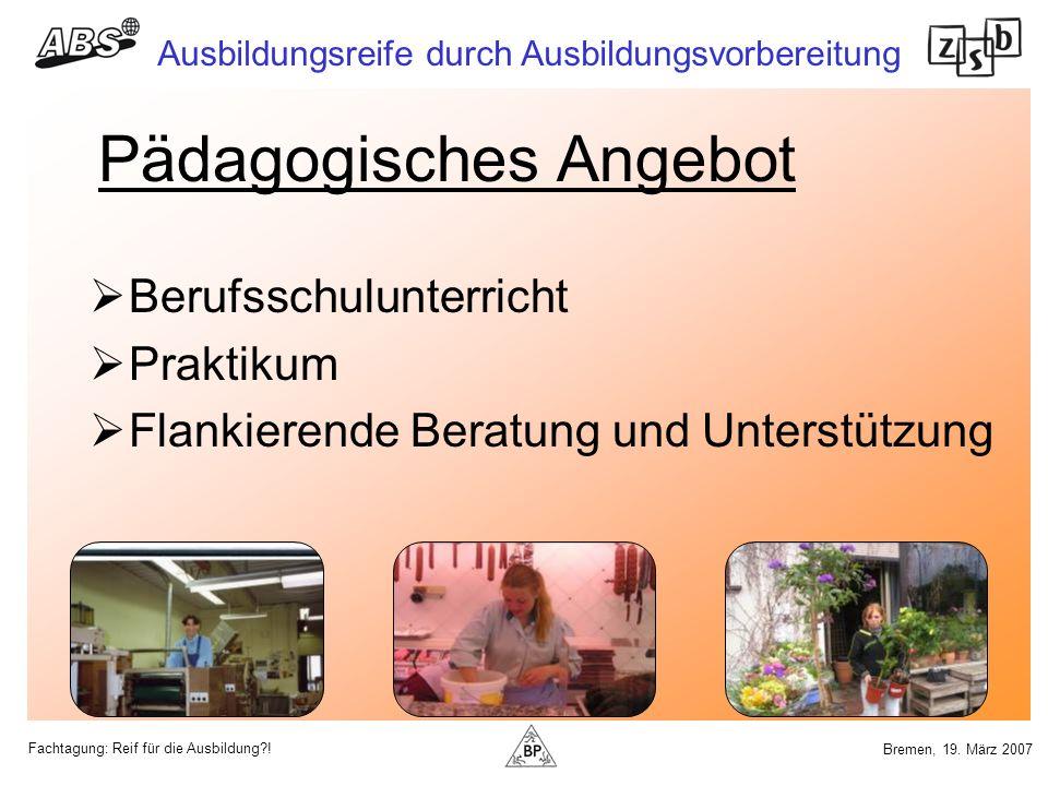 Fachtagung: Reif für die Ausbildung?! Ausbildungsreife durch Ausbildungsvorbereitung Bremen, 19. März 2007 Pädagogisches Angebot Berufsschulunterricht