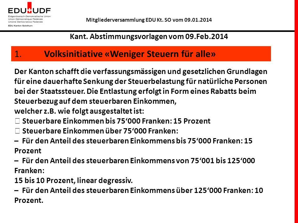 Mitgliederversammlung EDU Kt. SO vom 09.01.2014 Kant. Abstimmungsvorlagen vom 09.Feb.2014 1. Volksinitiative «Weniger Steuern für alle» Der Kanton sch