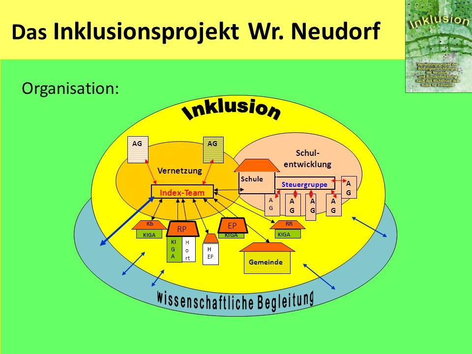 Das Inklusionsprojekt Wr. Neudorf Organisation: Schul- entwicklung Vernetzung Steuergruppe AGAG AGAG AGAG AGAG Index-Team Gemeinde KIGA Schule H EP RR