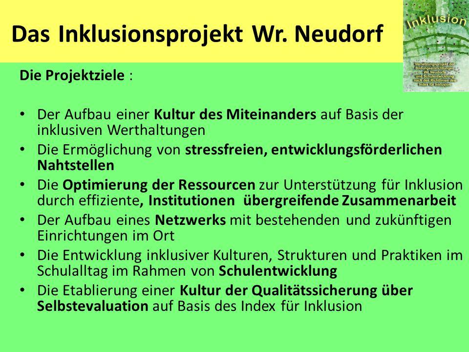 Das Inklusionsprojekt Wr. Neudorf Die Projektziele : Der Aufbau einer Kultur des Miteinanders auf Basis der inklusiven Werthaltungen Die Ermöglichung