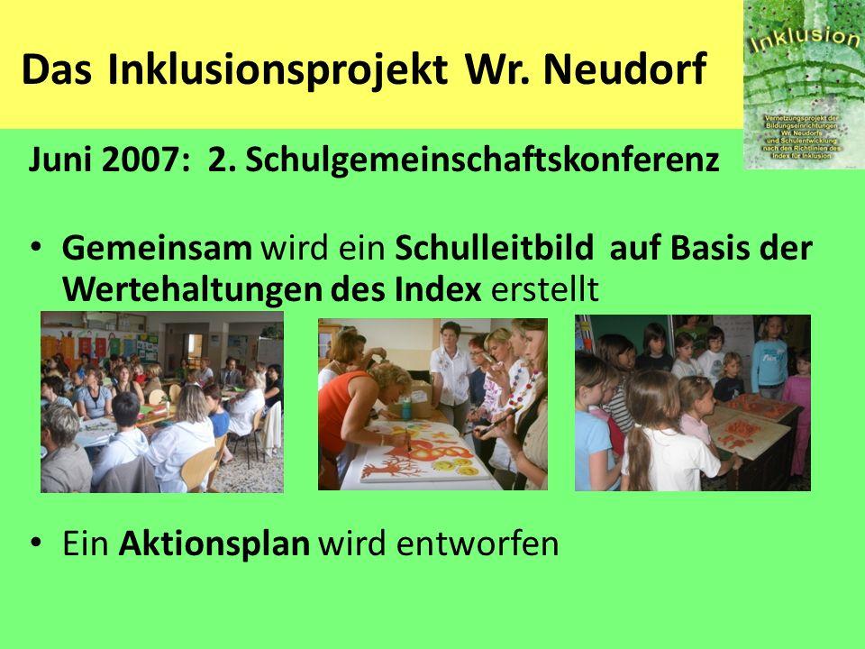 Das Inklusionsprojekt Wr. Neudorf Juni 2007: 2. Schulgemeinschaftskonferenz Gemeinsam wird ein Schulleitbild auf Basis der Wertehaltungen des Index er