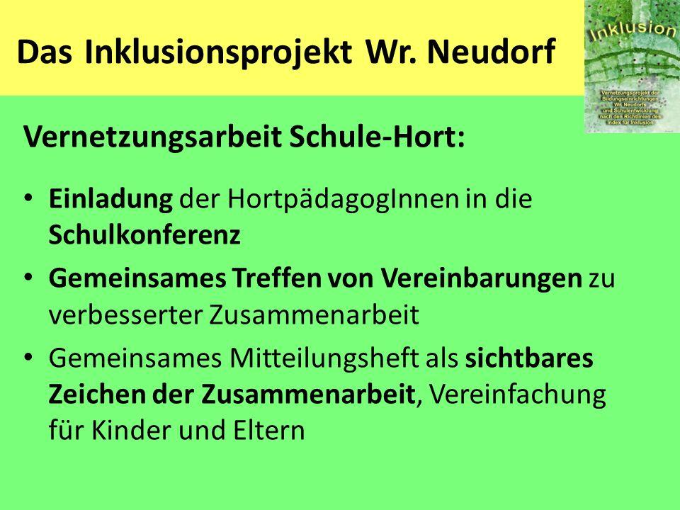 Das Inklusionsprojekt Wr. Neudorf Vernetzungsarbeit Schule-Hort: Einladung der HortpädagogInnen in die Schulkonferenz Gemeinsames Treffen von Vereinba