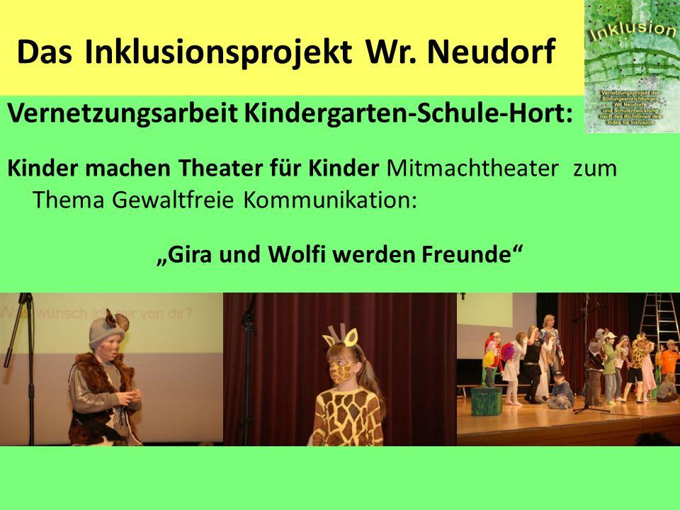 Das Inklusionsprojekt Wr. Neudorf Vernetzungsarbeit Kindergarten-Schule-Hort: Kinder machen Theater für Kinder Mitmachtheater zum Thema Gewaltfreie Ko