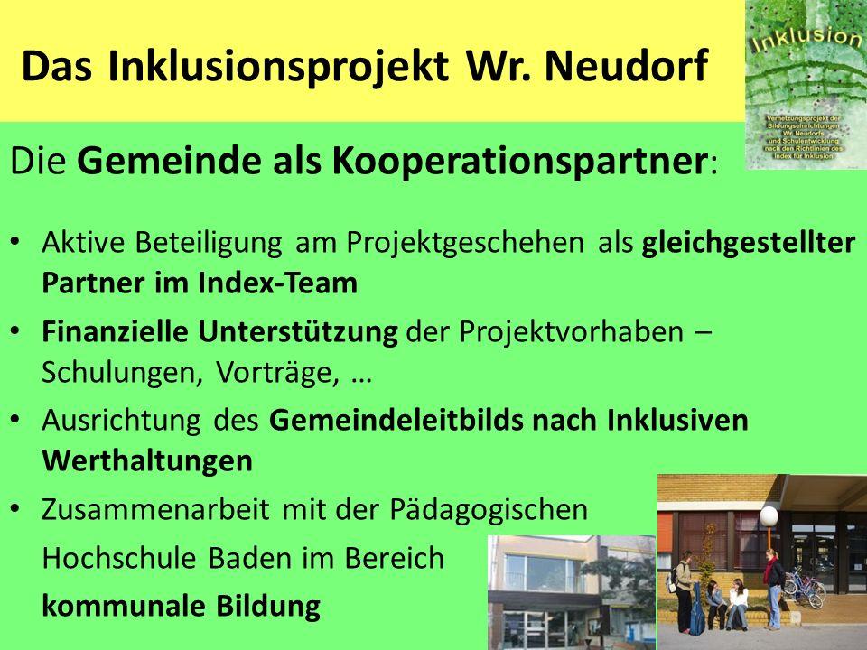 Das Inklusionsprojekt Wr. Neudorf Die Gemeinde als Kooperationspartner : Aktive Beteiligung am Projektgeschehen als gleichgestellter Partner im Index-