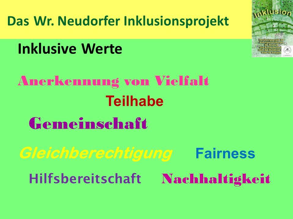 Das Wr. Neudorfer Inklusionsprojekt Inklusive Werte Anerkennung von Vielfalt Teilhabe Gemeinschaft Gleichberechtigung Fairness Hilfsbereitschaft Nachh