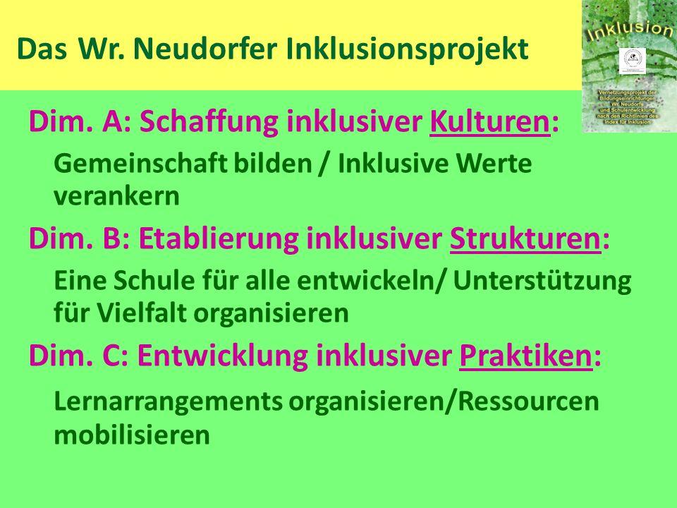 Das Wr. Neudorfer Inklusionsprojekt Dim. A: Schaffung inklusiver Kulturen: Gemeinschaft bilden / Inklusive Werte verankern Dim. B: Etablierung inklusi