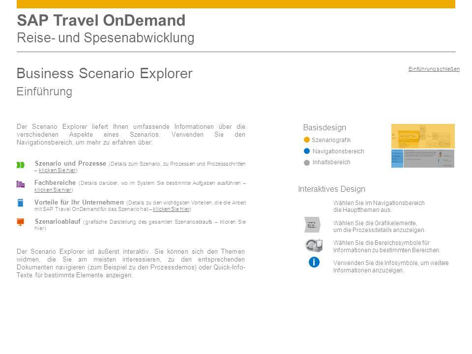 SAP Travel OnDemand Reise- und Spesenabwicklung Business Scenario Explorer Einführung Basisdesign Szenariografik Navigationsbereich Inhaltsbereich Der Scenario Explorer liefert Ihnen umfassende Informationen über die verschiedenen Aspekte eines Szenarios.