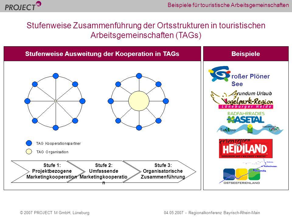 © 2007 PROJECT M GmbH, Lüneburg04.05.2007 - Regionalkonferenz Bayrisch-Rhein-Main Beispiele für touristische Arbeitsgemeinschaften roßer Plöner See...