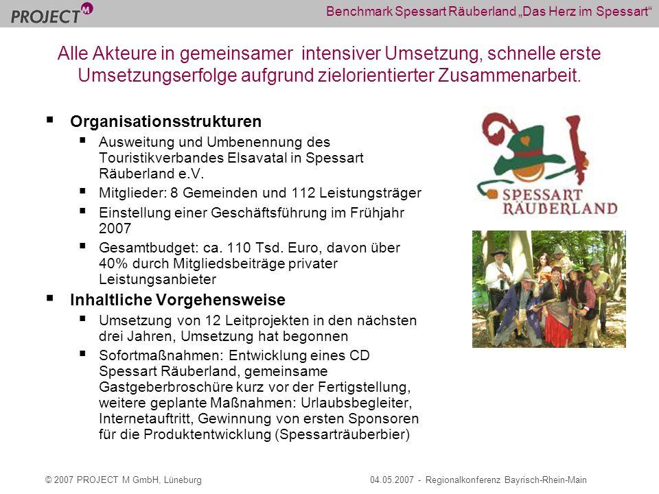 © 2007 PROJECT M GmbH, Lüneburg04.05.2007 - Regionalkonferenz Bayrisch-Rhein-Main Benchmark Spessart Räuberland Das Herz im Spessart Organisationsstrukturen Ausweitung und Umbenennung des Touristikverbandes Elsavatal in Spessart Räuberland e.V.