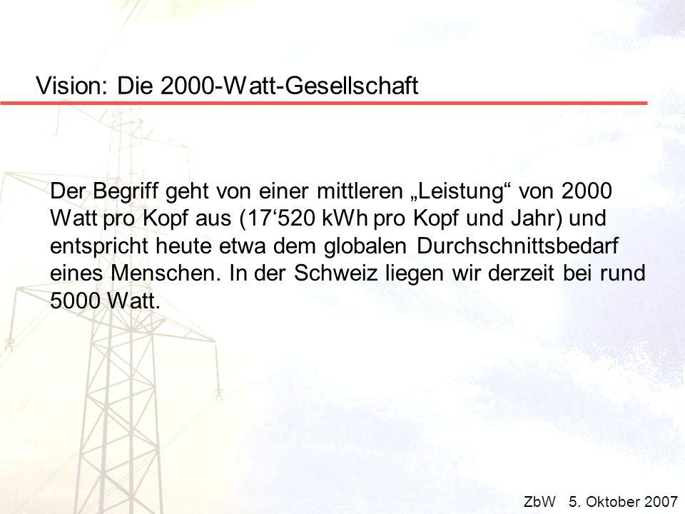 Vision: Die 2000-Watt-Gesellschaft Der Begriff geht von einer mittleren Leistung von 2000 Watt pro Kopf aus (17520 kWh pro Kopf und Jahr) und entspric
