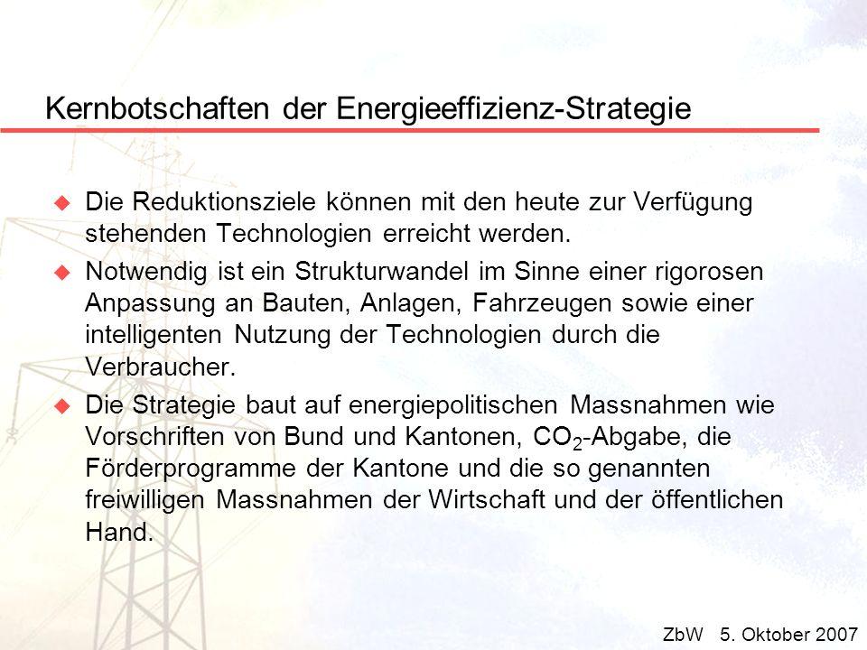 Kernbotschaften der Energieeffizienz-Strategie u Die Reduktionsziele können mit den heute zur Verfügung stehenden Technologien erreicht werden. u Notw
