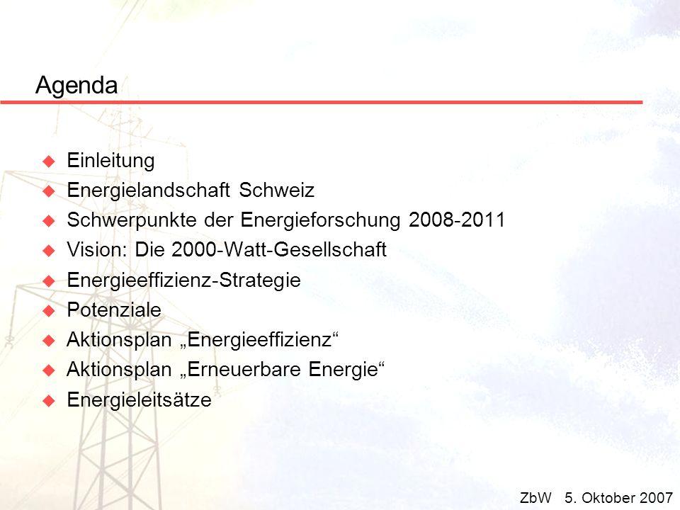 Agenda u Einleitung u Energielandschaft Schweiz u Schwerpunkte der Energieforschung 2008-2011 u Vision: Die 2000-Watt-Gesellschaft u Energieeffizienz-